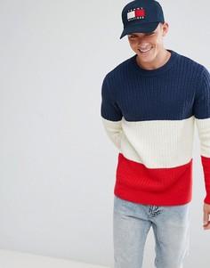 Сине-бело-красный джемпер вязки косами с логотипом Tommy Hilfiger Denim - Темно-синий