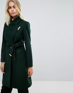 Удлиненное пальто с воротником и запахом Ted Baker - Зеленый