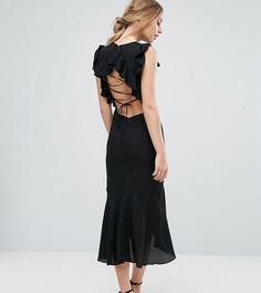 Платье миди со шнуровкой на спине и оборками Hope & Ivy - Черный