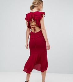 Платье миди со шнуровкой на спине и оборками Hope & Ivy - Красный