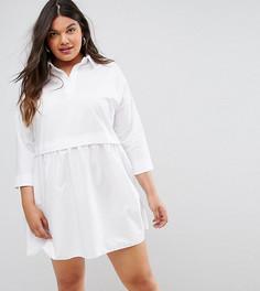 Платье-рубашка мини свободного кроя ASOS CURVE - Белый
