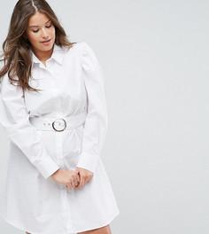Платье-рубашка с поясом ASOS CURVE - Белый