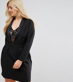 Платье в стиле смокинга с кружевной вставкой ASOS CURVE - Черный