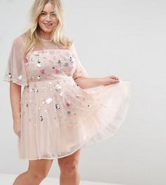 Короткое приталенное платье с пайетками ASOS CURVE Donna - Розовый