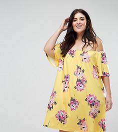 Желтое платье мини с открытыми плечами и цветочным принтом ASOS CURVE - Мульти