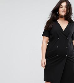 Платье с кнопками и складкой на спине ASOS CURVE - Черный