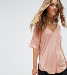 Оверсайз-футболка в рубчик ASOS PETITE - Розовый
