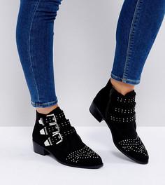 Ботинки для широкой стопы с пряжками и заклепками New Look - Черный