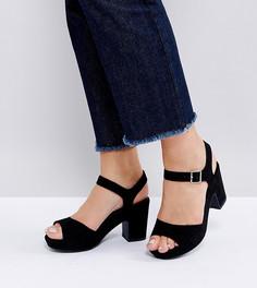 Босоножки на каблуке для широкой стопы New Look - Черный