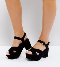 Сандалии на платформе для широкой стопы New Look - Черный