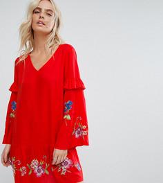 Свободное платье мини с вышивкой ASOS PETITE ULTIMATE - Красный
