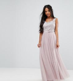 Платье макси с кружевным топом и юбкой из тюля Little Mistress Petite - Коричневый