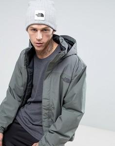 Серая шапка-бини с логотипом и отворотом The North Face - Серый