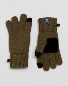 Зеленые трикотажные перчатки с замшевыми накладками The North Face Etip - Зеленый