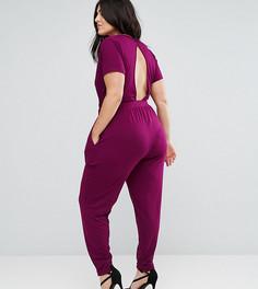 Комбинезон с короткими рукавами и запахом ASOS CURVE - Фиолетовый