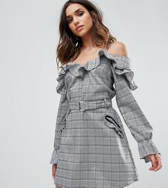 Клетчатое платье с открытыми плечами и оборками Missguided - Серый