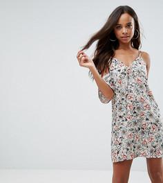 Платье с вырезами на плечах и цветочным принтом Missguided Petite - Кремовый