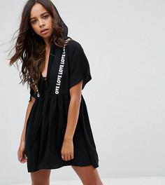 Свободное платье с капюшоном и принтом Love Missguided Petite - Черный