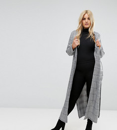 Длинная куртка в клетку Missguided Plus - Серый