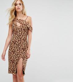 Платье миди на одно плечо с разрезом подола Missguided Tall - Мульти