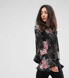 Рубашка с расклешенными рукавами и цветочным принтом Missguided Tall - Черный