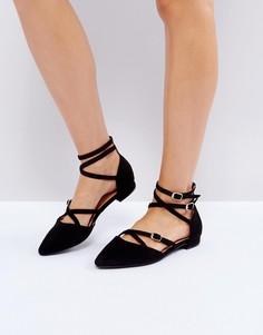 Туфли на плоской подошве с ремешком на щиколотке RAID Marci - Черный