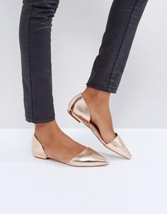 Туфли на плоской подошве цвета розового золота с острым носком RAID Cate - Золотой