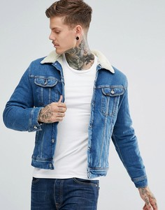 Выбеленная джинсовая куртка с искусственным мехом Lee - Синий