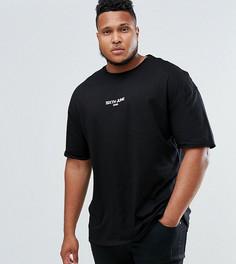Черная футболка оверсайз с маленьким логотипом Sixth June PLUS - Черный