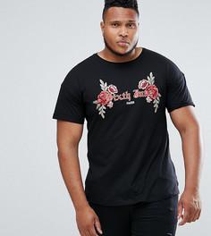 Черная футболка с цветочной вышивкой Sixth June PLUS - Черный