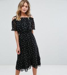 Платье с цветочным принтом и оборкой эксклюзивно для Miss Selfridge - Мульти