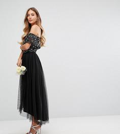 Платье миди со спущенными плечами, пайетками и юбкой из тюля Maya Tall - Черный