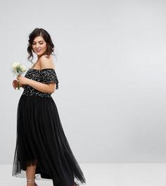 Платье миди со спущенными плечами, пайетками и юбкой из тюля Maya Plus - Черный