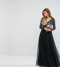 Платье макси с длинными рукавами, пайетками и юбкой из тюля Maya Tall - Черный