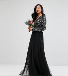 Платье макси с длинными рукавами, пайетками и юбкой из тюля Maya Petite - Черный