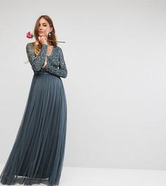 Платье макси с длинными рукавами, пайетками и юбкой из тюля Maya Tall - Синий