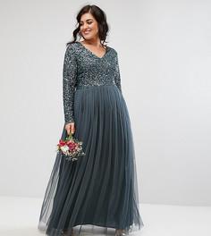 Платье макси с длинными рукавами, пайетками и юбкой из тюля Maya Plus - Синий