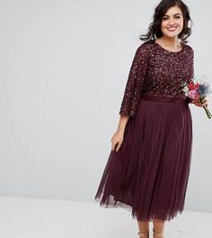 Платье миди с пайетками и юбкой из тюля Maya Plus - Красный