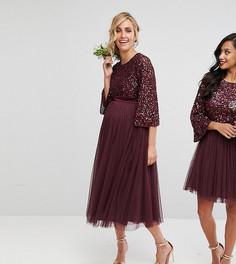 Платье миди с пайетками и юбкой из тюля Maya Maternity - Красный