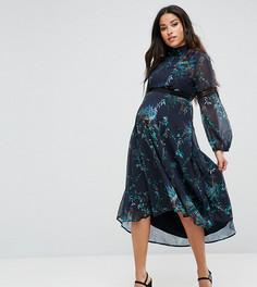 Платье миди с принтом и кружевными вставками Hope & Ivy Maternity - Мульти