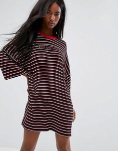 Платье-футболка в стиле оверсайз с полосками и принтом Save Your Breath The Ragged Priest - Черный