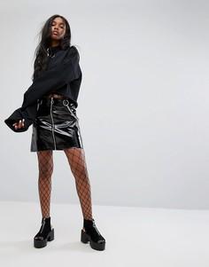 Блестящая виниловая мини-юбка на молнии спереди The Ragged Priest - Черный
