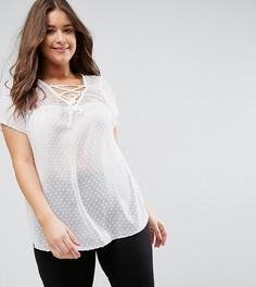 Блузка со шнуровкой New Look Plus - Кремовый