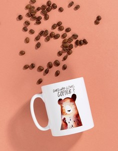 Кружка с медведем и надписью Guess Who Loves Coffee Jolly Awesome - Мульти