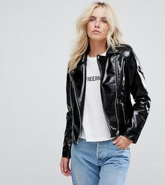 Виниловая байкерская куртка New Look Petite - Черный