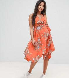 Платье с асимметричным краем New Look Maternity - Оранжевый