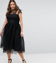 Платье миди для выпускного с отделкой Chi Chi London Plus Premium - Черный