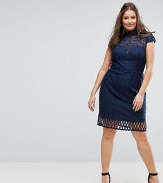 Кружевное платье-футляр с вырезом под горло и короткими рукавами Chi Chi London Plus - Темно-синий
