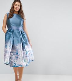 Платье миди 2 в 1 с принтом Chi Chi London Plus - Серый