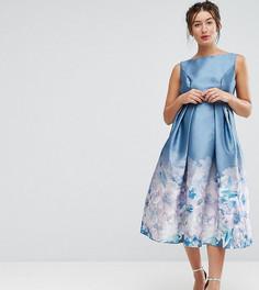 Платье миди 2 в 1 с принтом Chi Chi London Maternity - Серый